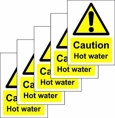 Caution Hot Water Safety Sign - Self adhesive sticker 100mm x 75mm Pack of 5