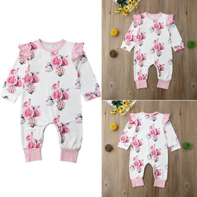 AU Stock Silky Baby Girl Romper Ruffled Jumpsuit Bodysuit Floral Outfit Clothes