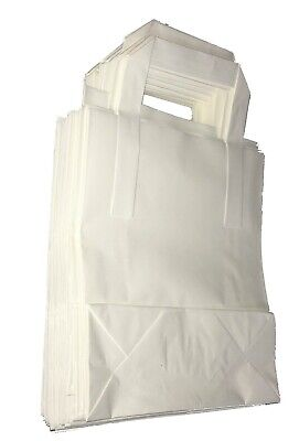 White Kraft Paper Sos Food Carrier Bags With Handles Party Takeaway New
