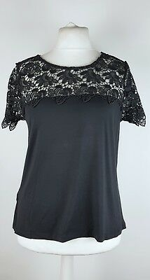 Laura Ashley Ladies Grey Broderie Anglaise Stretchy Lace Top UK 16 Party