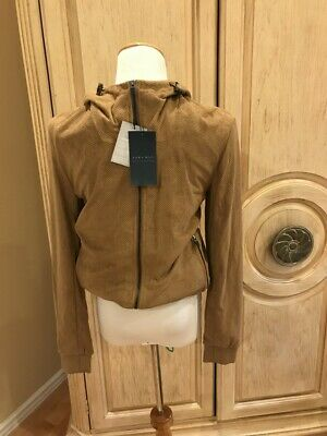 5b720bfb ZARA MAN FAUX Suede Bomber Jacket With Hood Long Sleeve Size Small~NWT