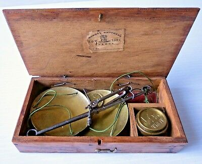 Antique Hand Held Brass Gold Scale & Weight Set In Case w/original label