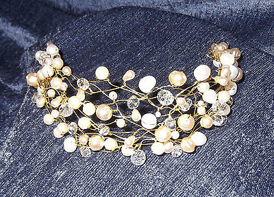 CRYSTAL & FRESHWATER PEARL TIARA, BRIDAL HEADPIECE,Gold & Beige, NEW, Aust