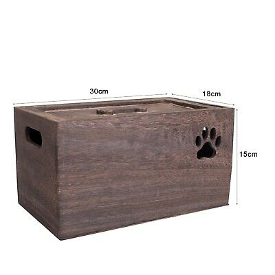 Small Wooden Storage Boxes Plain Wood  Box with Lid  Paw Shaped Design Crate