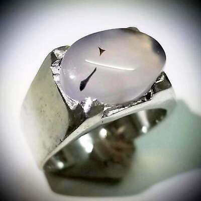 925 sterling silver ring genuine yemen 100% clear agate akeek stone aqeeq