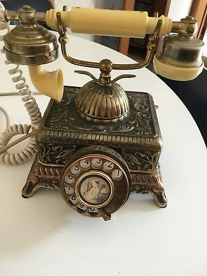 Decorative French Victorian Style  Brass  Rotary Dial  Telephone