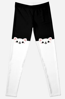🖤 Women's Peeking Cat Leggings Sugarhai Cute Kawaii Kitty Harajuku Black XL NEW