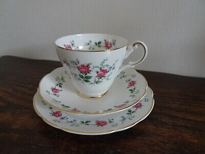Vintage F C Emery Longport Trio Cup Saucer & Side Plate Roses English Bone China