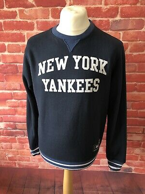 Vintage Mens Majestic New York Yankees NY Baseball Blue Jumper Sweater Size  M 348cfc9d2236