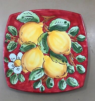 Vietri Pottery-8 inch Square Plate With Lemons.Made/Painted by hand in Italy