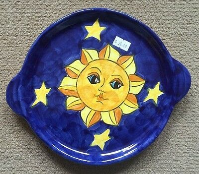 Vietri Pottery-7,3/4 Inch Tray With Sun Made/painted by hand-Italy.
