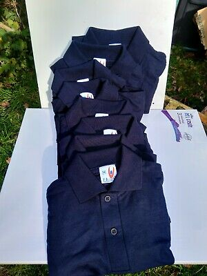 8 x kids polo shirts. navy blue. new. Assorted sizes. Joblot wholesale