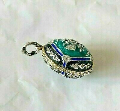 rare imperial Russian 84 Silver Enamel Egg Pendant with Stones  Faberge design