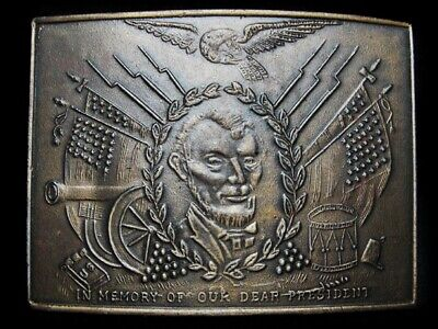 NA07142 NOS VINTAGE 1970s IN MEMORY OF OUR DEAR PRESIDENT (LINCOLN) BUCKLE