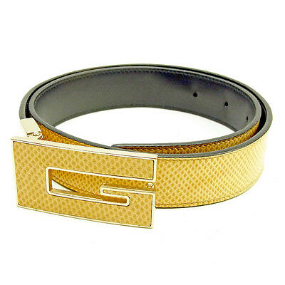 bb5631591fe GUCCI BELT G logos Beige Gold Woman unisex Authentic Used Y7277 ...