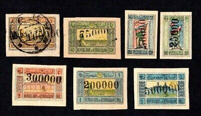 Azerbaijan 1923 group of stamps  Liapin#103-112 MH, used