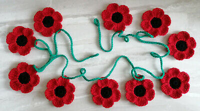 10xNew Crochet Poppies Flowers 4 Leaves Applique Embellishment