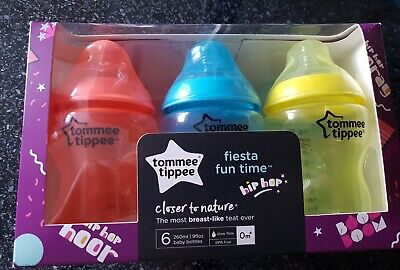 Tommee Tippee Closer to Nature Fiesta Fun Time Bottles, 260 ml, Pack of 6