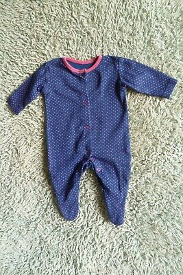 Baby clothes GIRL newborn 0-1m dark blue/bright pink spotted babygrow SEE SHOP!