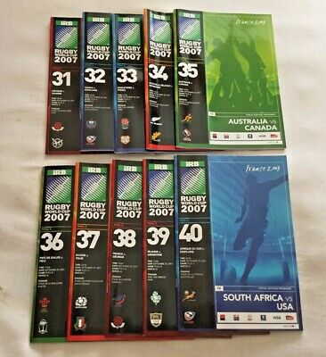 10 x RUGBY WORLD CUP FRANCE 2007 PROGRAMMES No 31-40