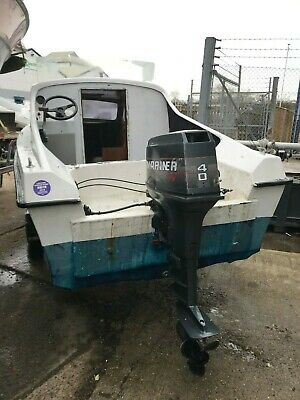 14ft GRP fishing boat with cabin on trailer with Selva 9.9hp outboard motor