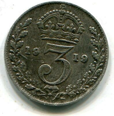 1919 Solid Sterling Silver World War One Period  vintage Threepence