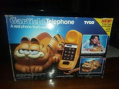 1979-1981 Tyco Vintage Garfield Phone Desk Corded Eyes Open And Shut. With Box!