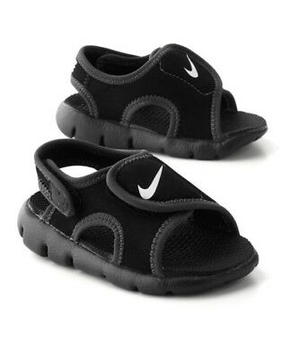 7a0bd1740a34 Nike Sunray Adjust 4 Toddlers Black White Water Sandals 386519 011 Sz 6c-10c