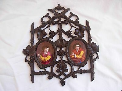 PAIR OF ANTIQUE FRENCH FRAMED ENAMEL ON COOPER PORTRAIT PAINTING,LATE 19th