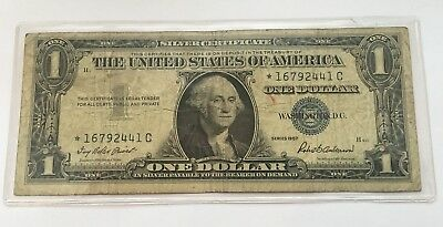 1957 Star $1 Dollar Bill Silver Certificate Blue Seal Note U.s Currency