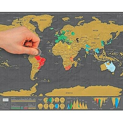 Scratch Off World Map,Deluxe Travel Size World Map Poster Scratch Map with Tube for Classroom Office Home Decoration,42 x 30cm/16.5 x 11.8in Maps