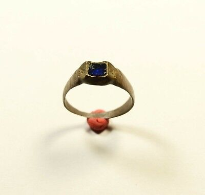 Stunning (Post) Medieval Bronze Ring With Blue Glass / Stone On Bezel - Wearable