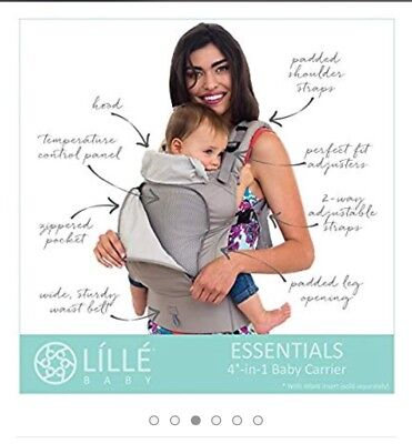 Lillebaby Essentials Baby Carrier All Seasons in Stone 100 Cotton 3 D Mesh