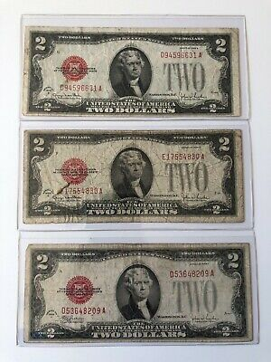 3 X $2 1928 Two Dollar, Red Seal Small Size Legal Tender Note Paper Money Bill