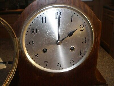 Vintage Junghans Wurttemberg Wooden Mantle Clock Made Oct 1927 for repair