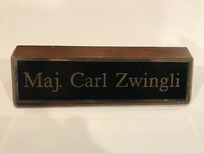 The Sopranos -Major Carl Zwingli Screen Seen Desk Name Plate Army Of One Episode
