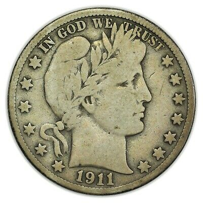 1911-S Barber Half Dollar, Large, Early Type, Silver Coin [4086.11]