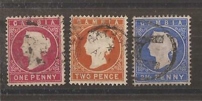 GAMBIA  QV  3 stamps used