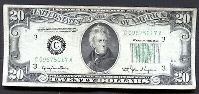 C1 Old Bill1950 Twenty 20 Dollar Note Federal Reserve (C ) Philly Paper Currency