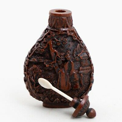 Antique Chinese Red Lacquer Carved Cinnabar Snuff Bottle Lady in Garden 2.75""