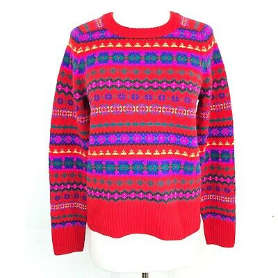 J. Crew Size Small Holly Sweater in Fair Isle Red 100% Wool Women s S 505f6b12a289