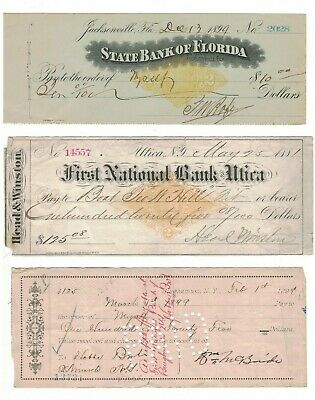 Lot Of 21 1878-1901 Bank Checks With Documentary Stamps,  Florida & New York