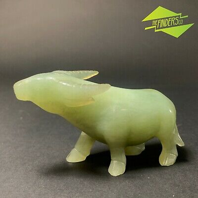 ANTIQUE REAL NATURAL NEPHRITE JADE HAND-CARVED OX 86g ASIAN VINTAGE CHINESE