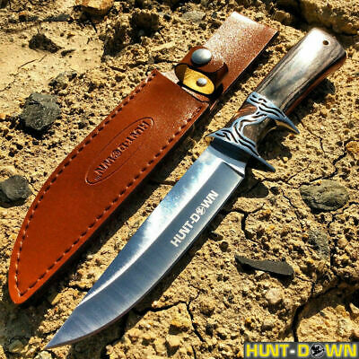 "12"" COMBAT TACTICAL Fixed Blade Knife Survival Hunting Wood Handle With Sheath"