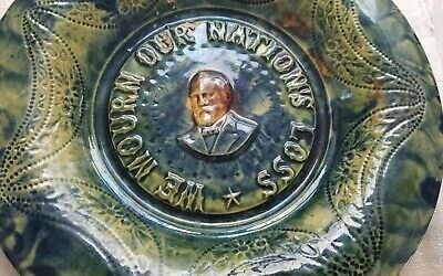 Majolica spatter ware Nation mourning Loss Bowl plate James Garfield 1881