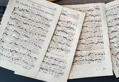 18th Century(4) Antique Lrg-Print Engraving Antiphonal/Music Sheet/Hyms/Religion