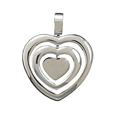 Stainless Steel Spinner Heart Pendant , Free Spinning , Polished Finish