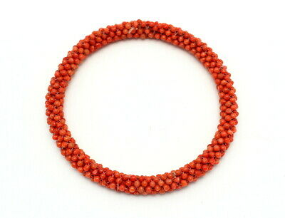 Fine Antique Chinese Woven Natural Coral Bead Bangle Bracelet