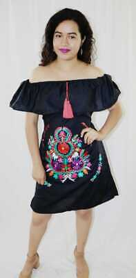 Womens Handmade Embroidered Mexican Dress Black Medium X-Large Off the Shoulder