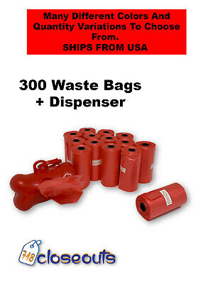 300 Dog Puppy Refill Waste Clean Up Poop Bag Rolls With Core And Bone Dispenser